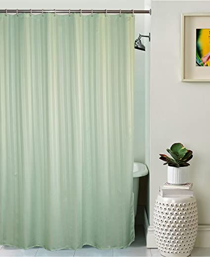 Lushomes Unidyed Polyester Shower Curtain with 12 Plastic Eyelets (Light Green)