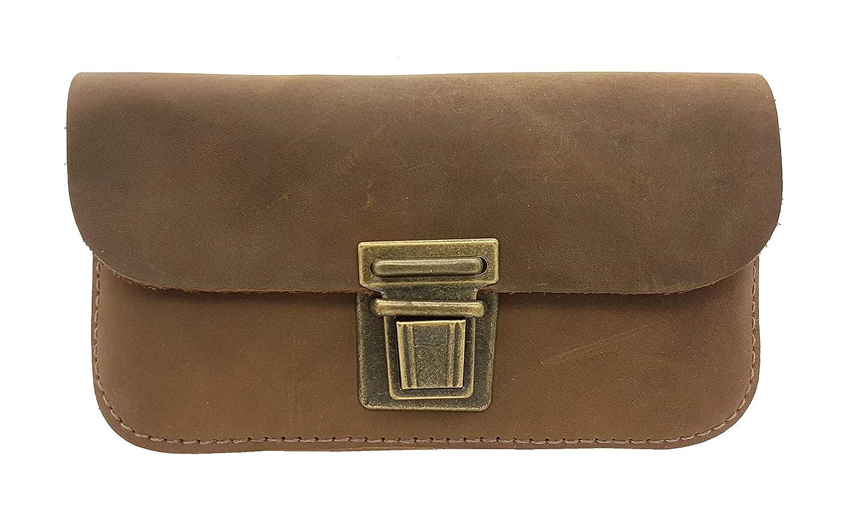 Made in Germany Leder Gürteltasche Bikertasche Hüfttasche Bauchtasche Smartphone geeignet Vintage Look + Taschen-Nagelfeile
