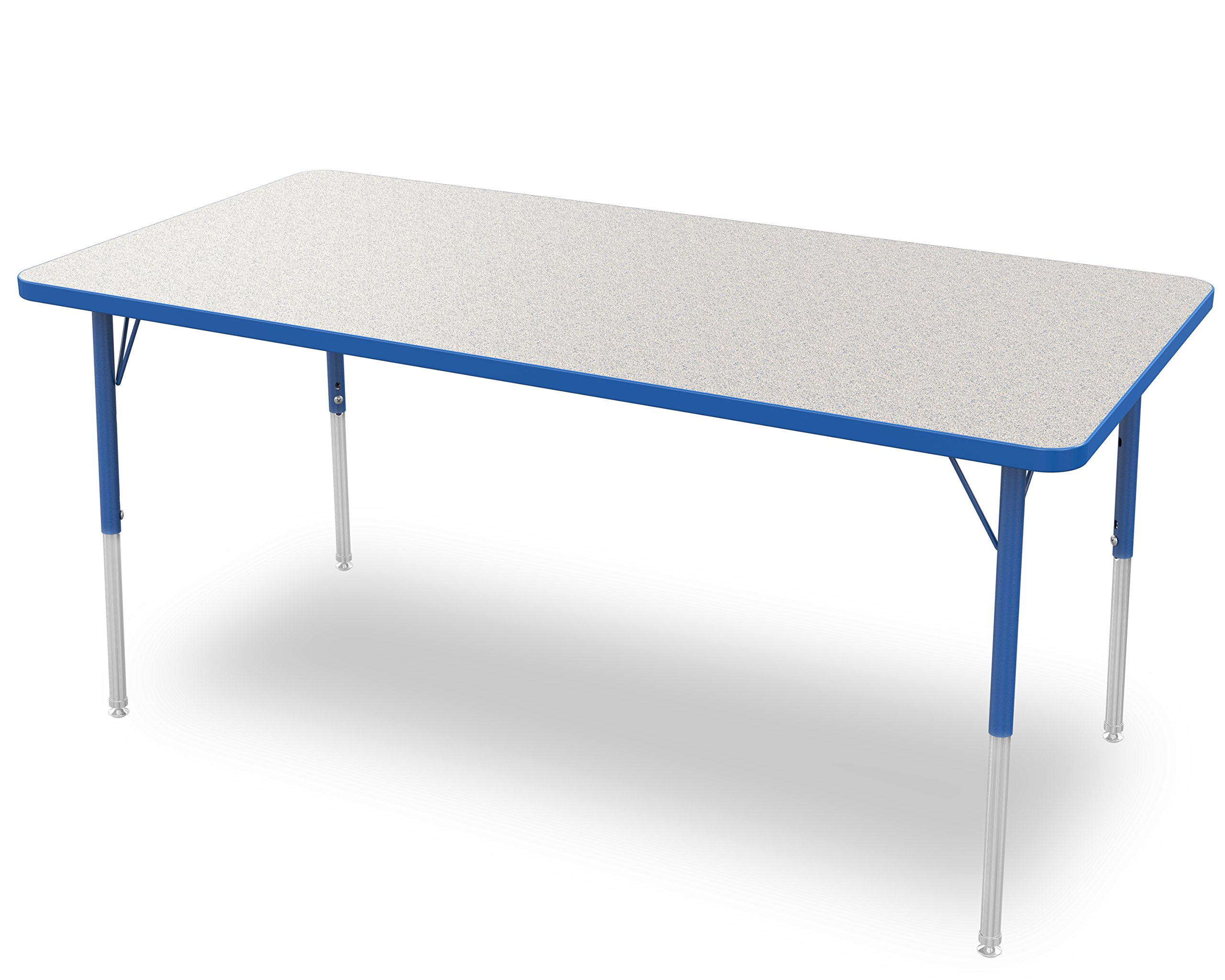 Marco Group 2200 Series Rectangle Activity Table with Swivel Glides,  Gray Glace Top/ Blue Edge and Blue Standard Legs,  30-Inch by 60-Inch