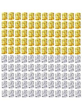 Fani 120 Pieces Dreadlocks Beads Mixed Golden Silver Aluminum Dread Locks Metal Cuffs Hair Decoration Braiding Hair Jewelry(Silver And Golden) by Fani