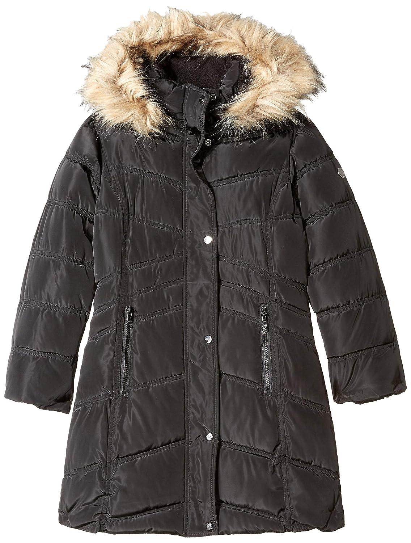 Steve Madden Girls Long Jacket with Faux Fur Trim Hood