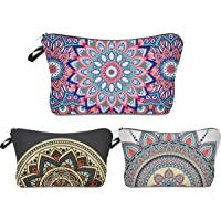 Roomy Cosmetic Bag,3 piece Set Deanfun Waterproof Travel Toiletry Pouch Makeup with Zipper (Mandala Flowers)