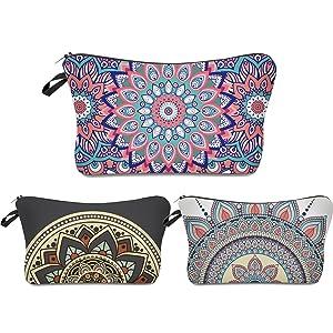 Roomy Cosmetic Bag,3 piece Set Deanfun Waterproof Travel Toiletry Pouch Makeup with Zipper (Mandala Flowers)