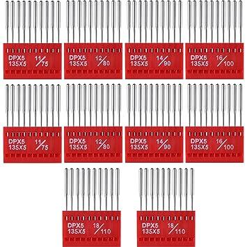 100 Piezas de Agujas de Máquina de Costura de Cabeza Redonda Variadas con Caja de Plástico
