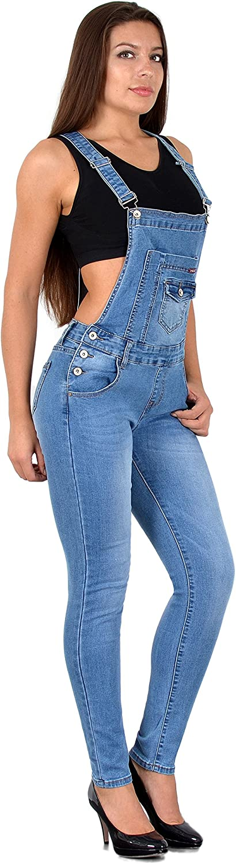 ESRA Damen Jeans Latzhose Skinny Latzjeans Overall Jeans-Latzhose mit Tr/äger H340