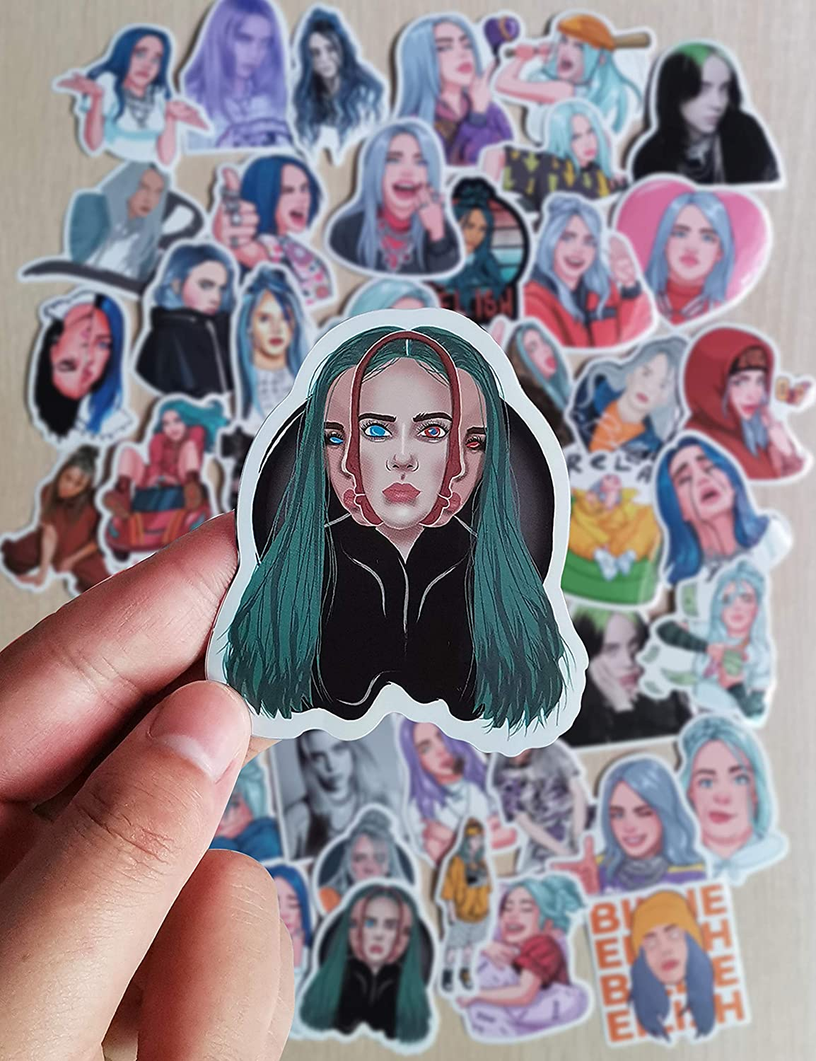 Eilish Merch Sticker,50 Pcs Waterproof Stickers Cool Laptop Sticker Vinyl Sticker Bike Skateboard Luggage Decal