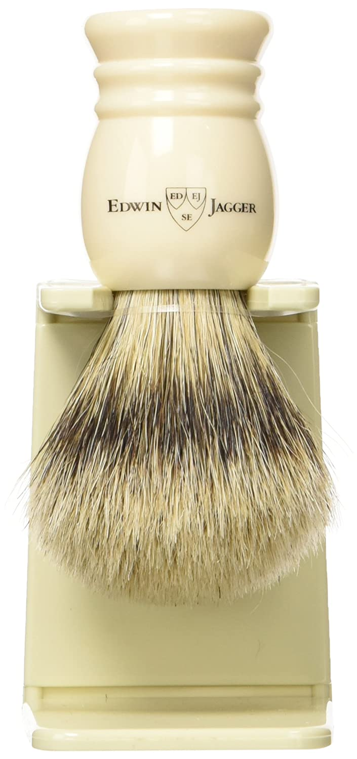 Edwin Jagger 1ej256sds Traditional English Super Badger Hair Shaving Brush Faux Ebony Medium With Drip Stand, Black, Medium 1EJ256SDSAMZ