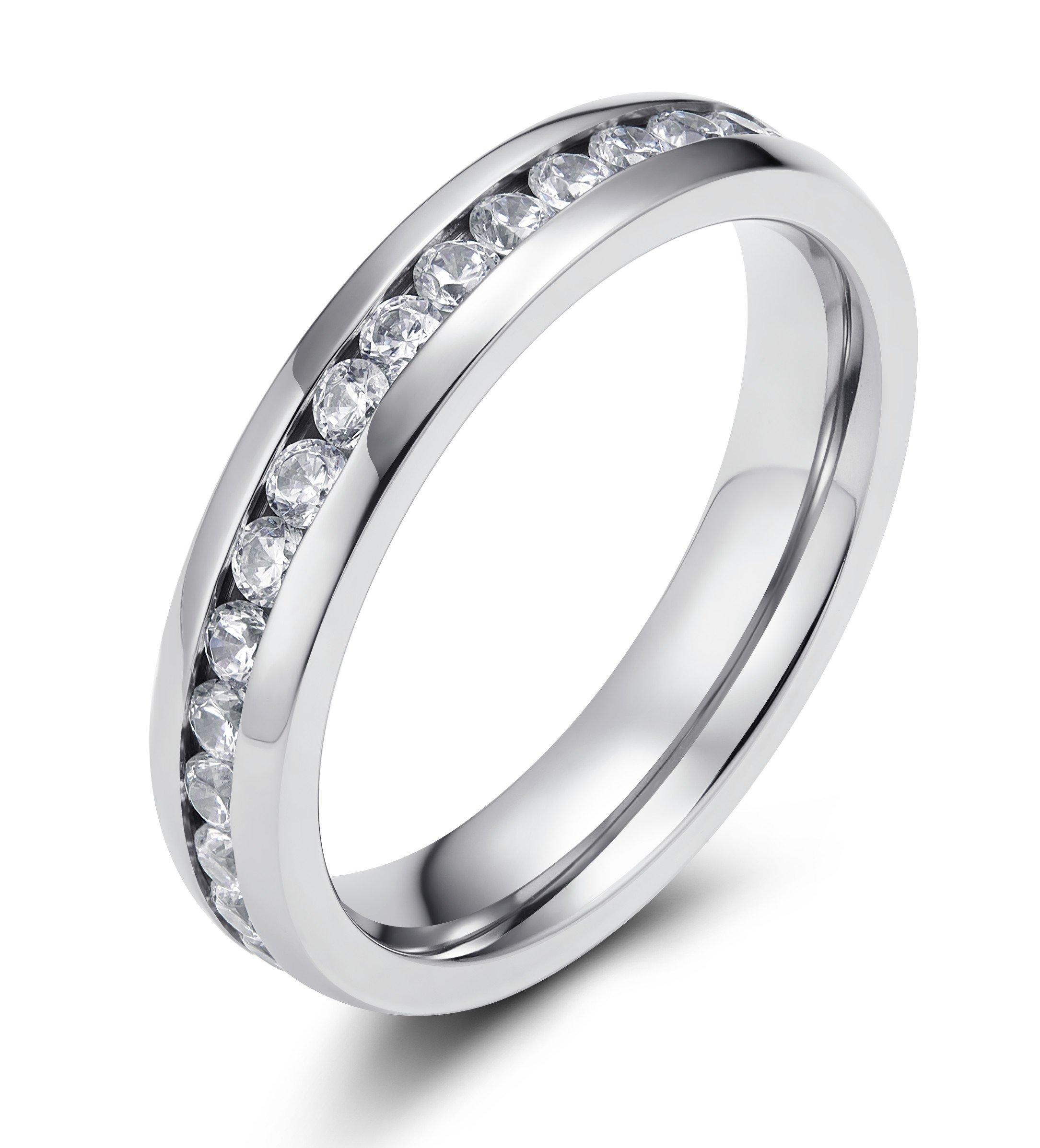 TIGRADE 4MM Eternity Titanium Ring Wedding Band with Cubic Zirconia (6)