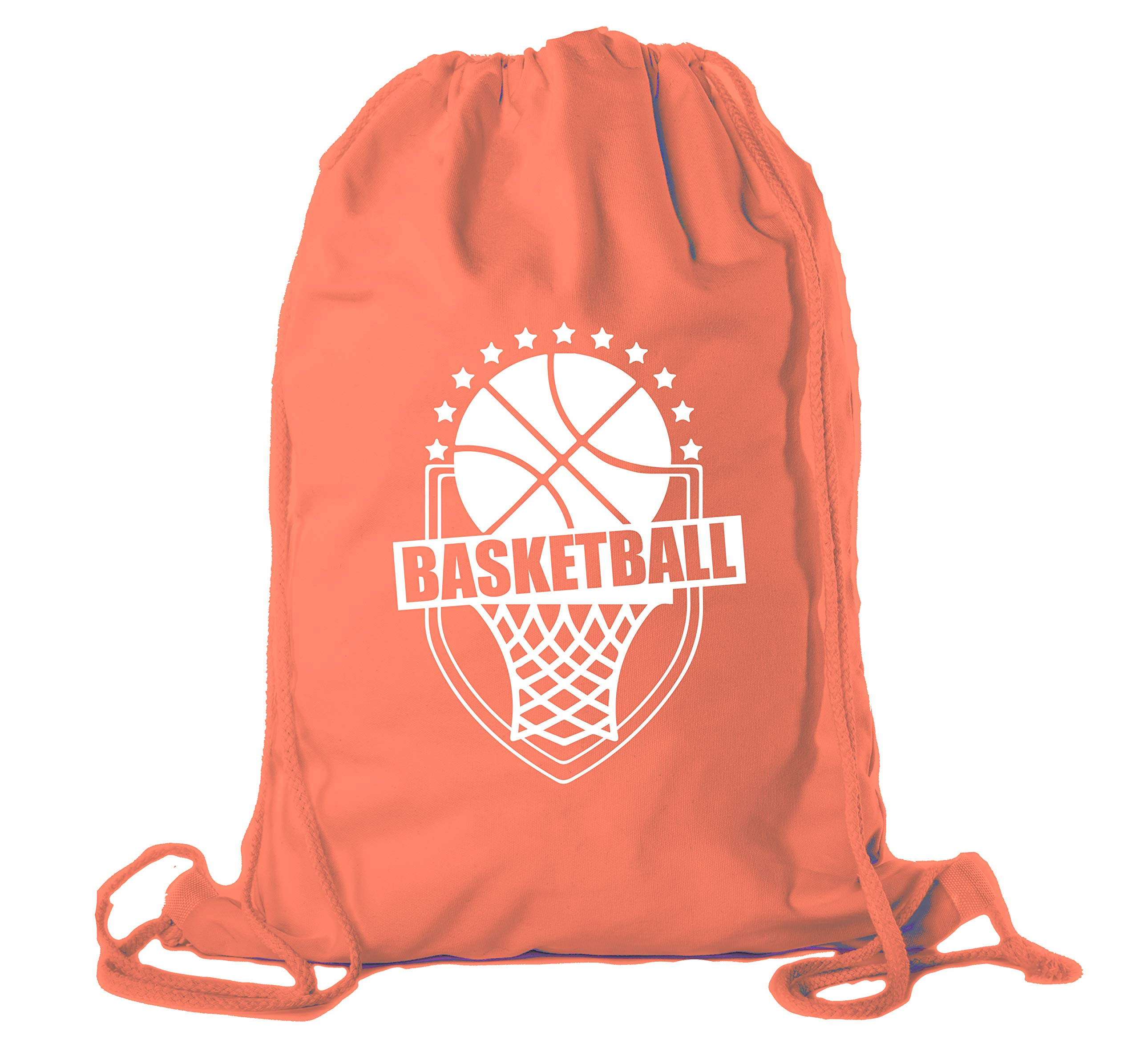 Basketball Party Bags | Basketball Cotton Drawstring Cinch Backpacks for Team events, Birthdays, and more! - 10PK Orange CA2725Basketball S2