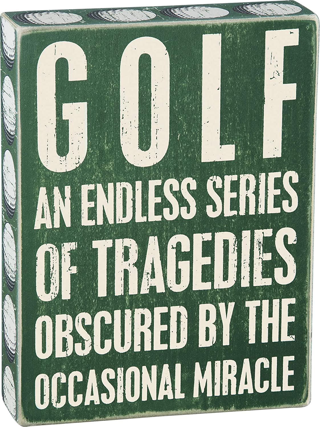 Primitives by Kathy 24687 Green Ball Trimmed Box Sign, 6 x 8-Inches, Golf Tragedies