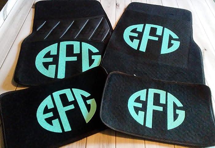 Monogrammed Floor Mats >> Women Teen Monogrammed Personalized 4 Mats Front And