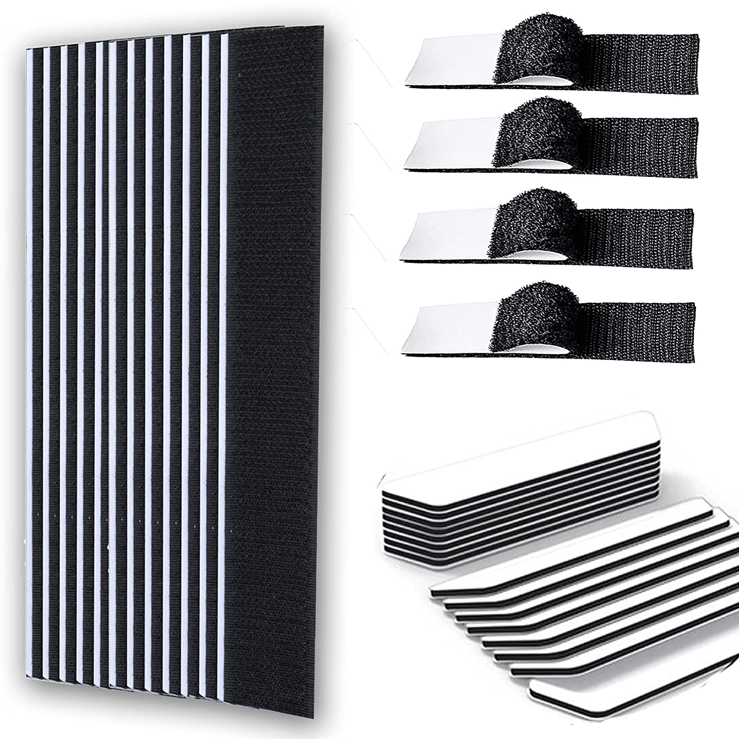 Couch Cushions, 15 Pairs Keep Couch Cushions from Sliding, Non Slip Self Adhesive Couch Cushions Keep Hook Loop Tapes Strips with Adhesive from Sliding, Double Sided Non Slip Furniture Pads(1x7 Inch)