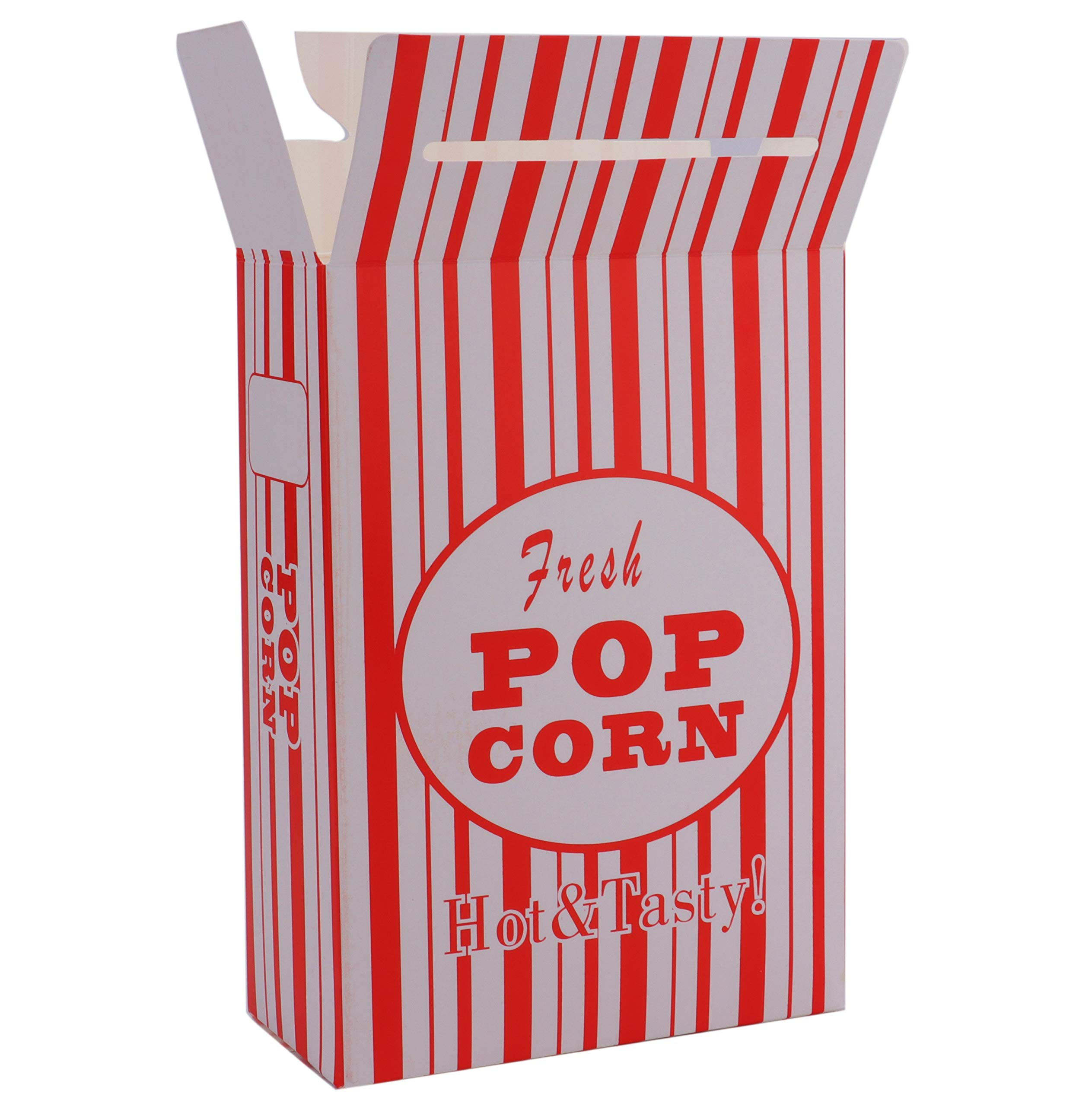 Bekith 100/Case Close-Top Popcorn Box, Red and White Stripes Classic Design by Bekith (Image #3)