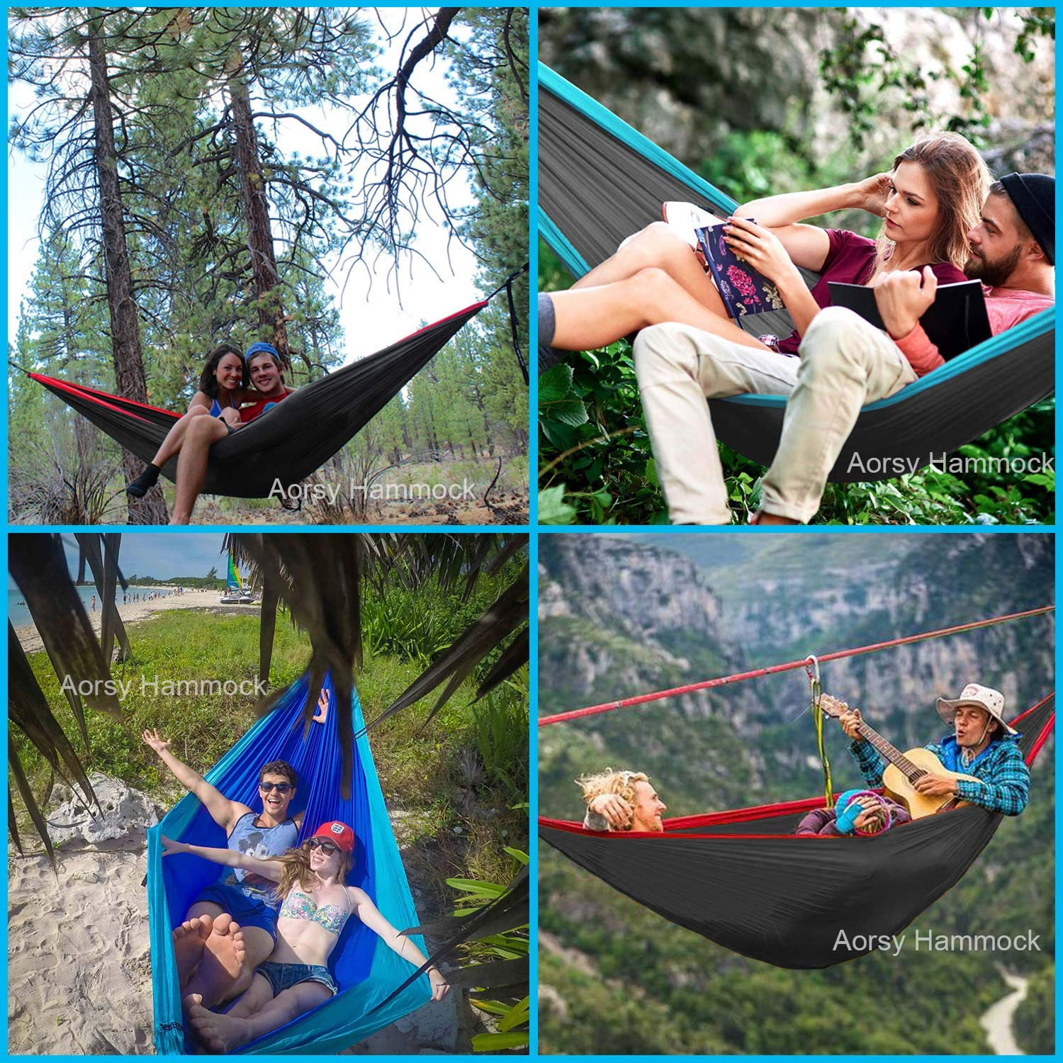 AORSY Camping Hammock XL Portable Hammock for 2 Person Backpacking Travel Lightweight Hammock Single /& Double Parachute Nylon Waterproof Foldable Hiking Hammock with 2 10ft Straps Heavy Duty