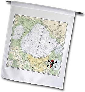 3dRose Lens Art by Florene - Nautical Maps - Image of Lake Pontchartrain Nautical Map with Pirate - 12 x 18 inch Garden Flag (fl_317554_1)