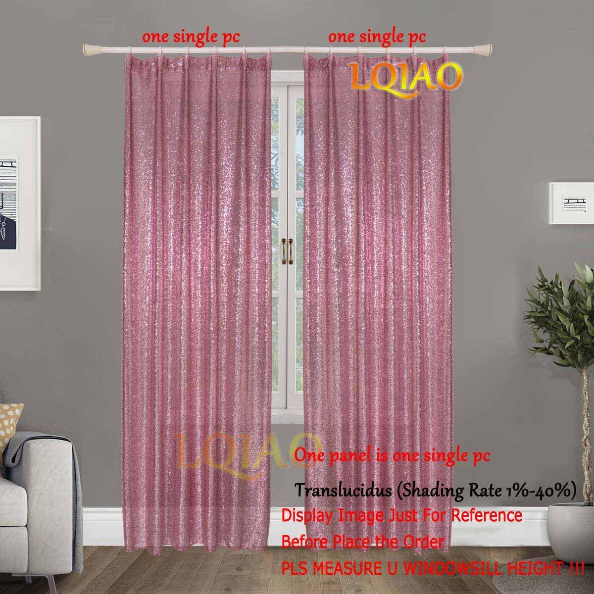 Pink Gold Sequin Curtain Panels 50x84in Light Curtain Shimmer Sequin Fabric for Door Window Curtain Home Textiles Window Treatments Pink Gold-One Panel