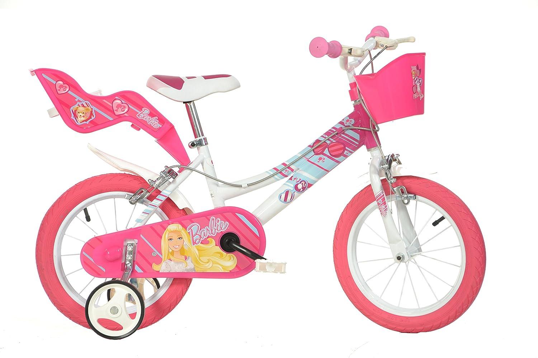 Dino Bikes 146R-BA Niñas Metal Rosa, Color blanco bicicletta - Bicicleta (Vertical, Metal, Rosa, Blanco, 35,6 cm (14