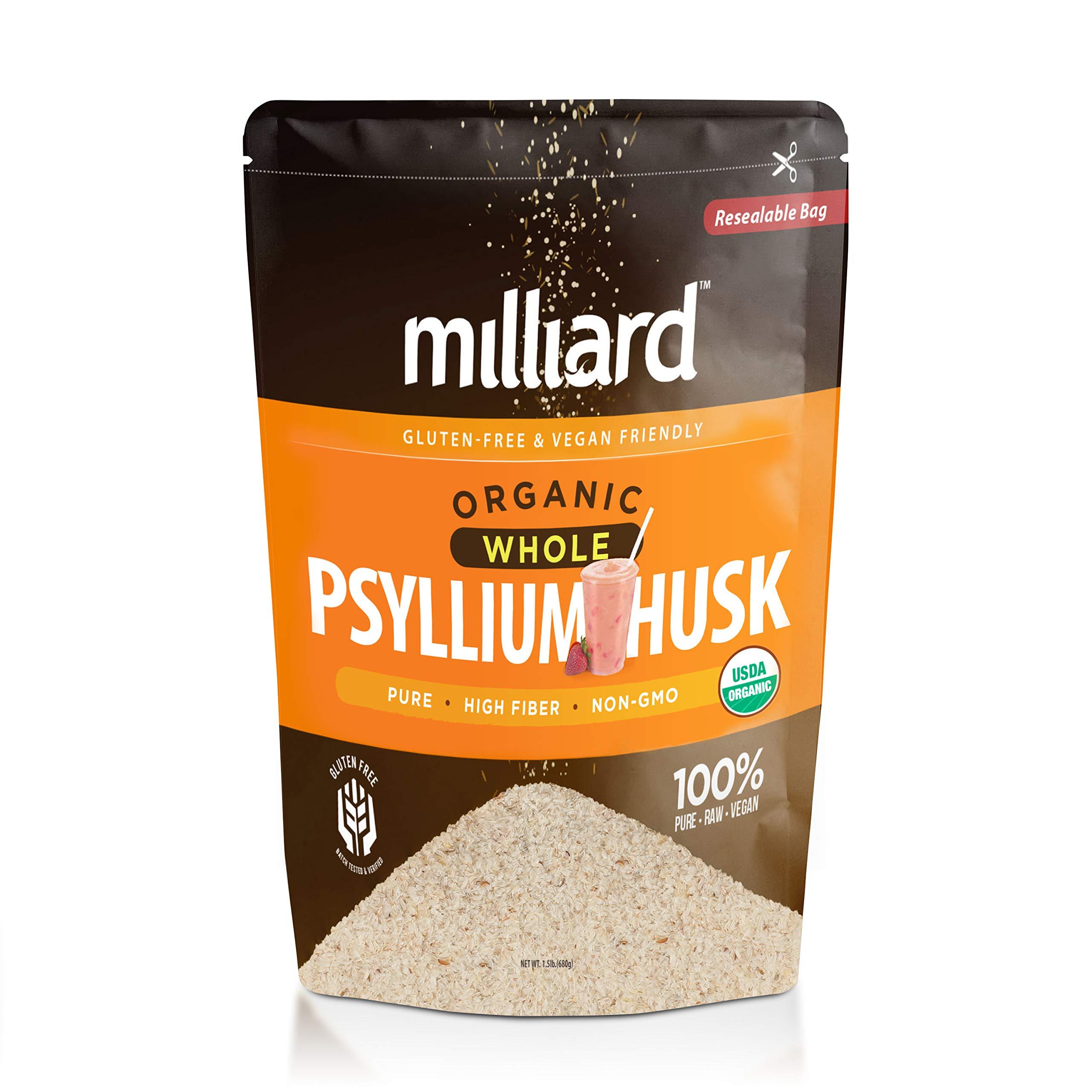 Milliard Organic Whole Psyllium Husk (1.5lb) Non-GMO and Gluten Free Fiber Support by Milliard