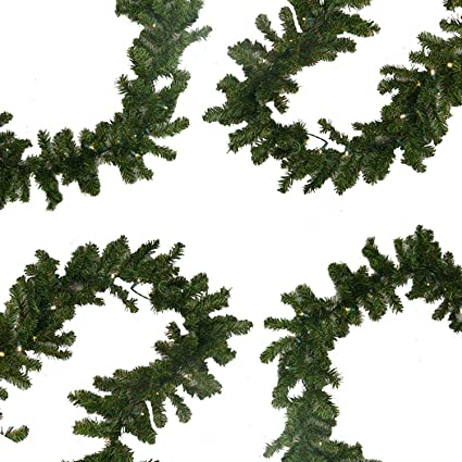 9 x 10 pre lit battery operated pine christmas garland warm clear - Battery Operated Christmas Garland