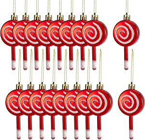 MEWTOGO 18 Pcs Christmas Candy Lollipop Ornament Set- 4'' Red and White Candy Cane Design Xmas Tree Lollipop Ornament Shatterproof Sparkling for Festive Holiday Décor