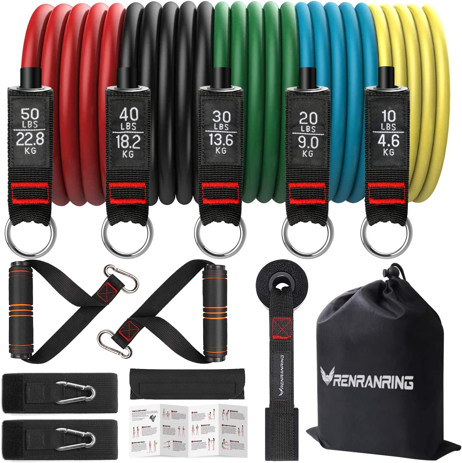 Resistance Bands Set,Exercise Bands with Stackable Workout Bands, Door Anchor Attachment, Handles, Legs Ankle Straps, Carry Bag, Gym Equipment for Home (Set of 13) (Black)