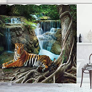 Ambesonne Safari Shower Curtain, Indochina Tiger Laying Under Banyan Tree Against Limestone Waterfall Relaxing Nature, Cloth Fabric Bathroom Decor Set with Hooks, 70