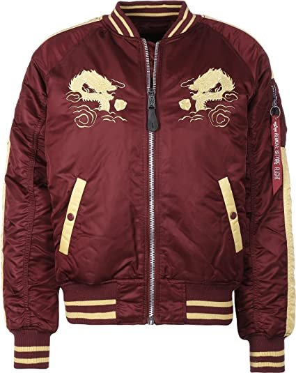 Alpha Industries Japan Dragon Chaqueta bomber burgundy: Amazon.es: Ropa y accesorios