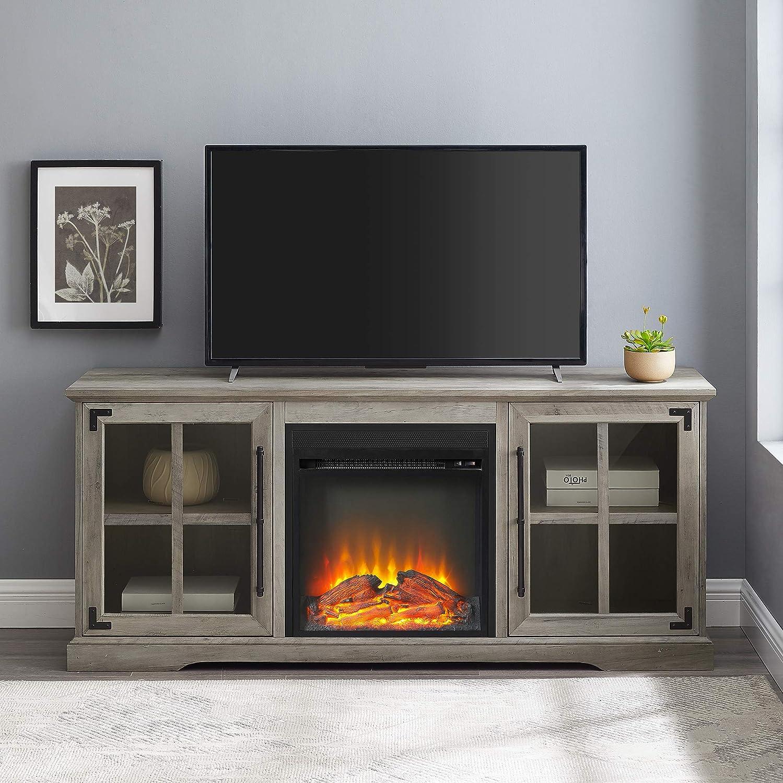 Walker Edison Furniture Company - Soporte de TV para Chimenea eléctrica, Compatible con televisores de hasta 65 Pulgadas: Amazon.es: Hogar