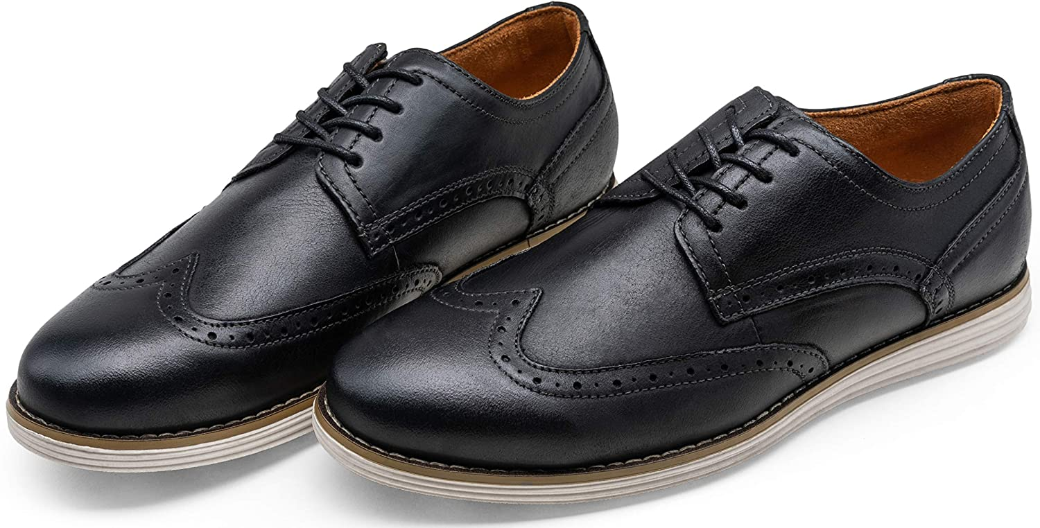 VOSTEY Mens Dress Shoes Leather Brogue Wingtip Oxford Shoes