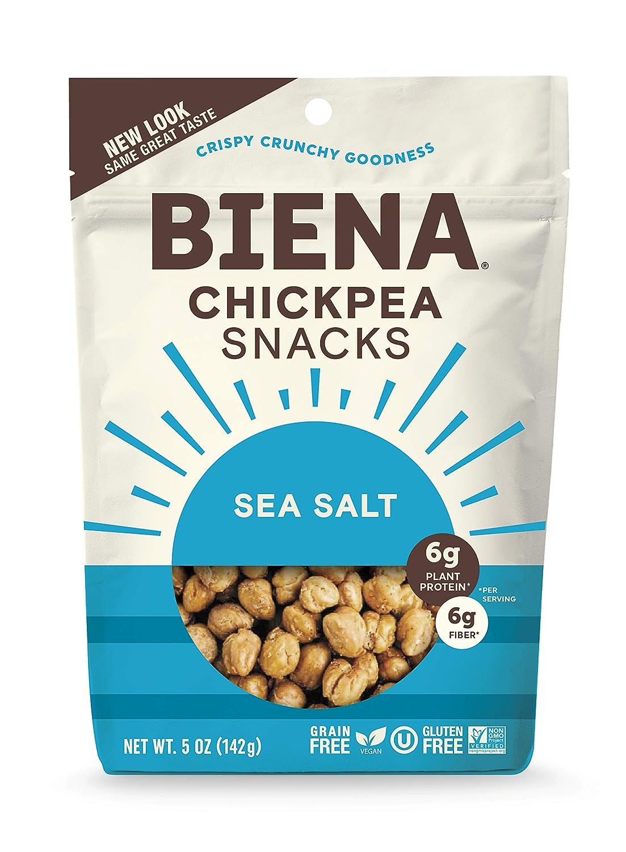 BIENA Chickpea Snacks, Sea Salt | Gluten Free | Vegan | Dairy Free | Plant-Based Protein (4 Pack)
