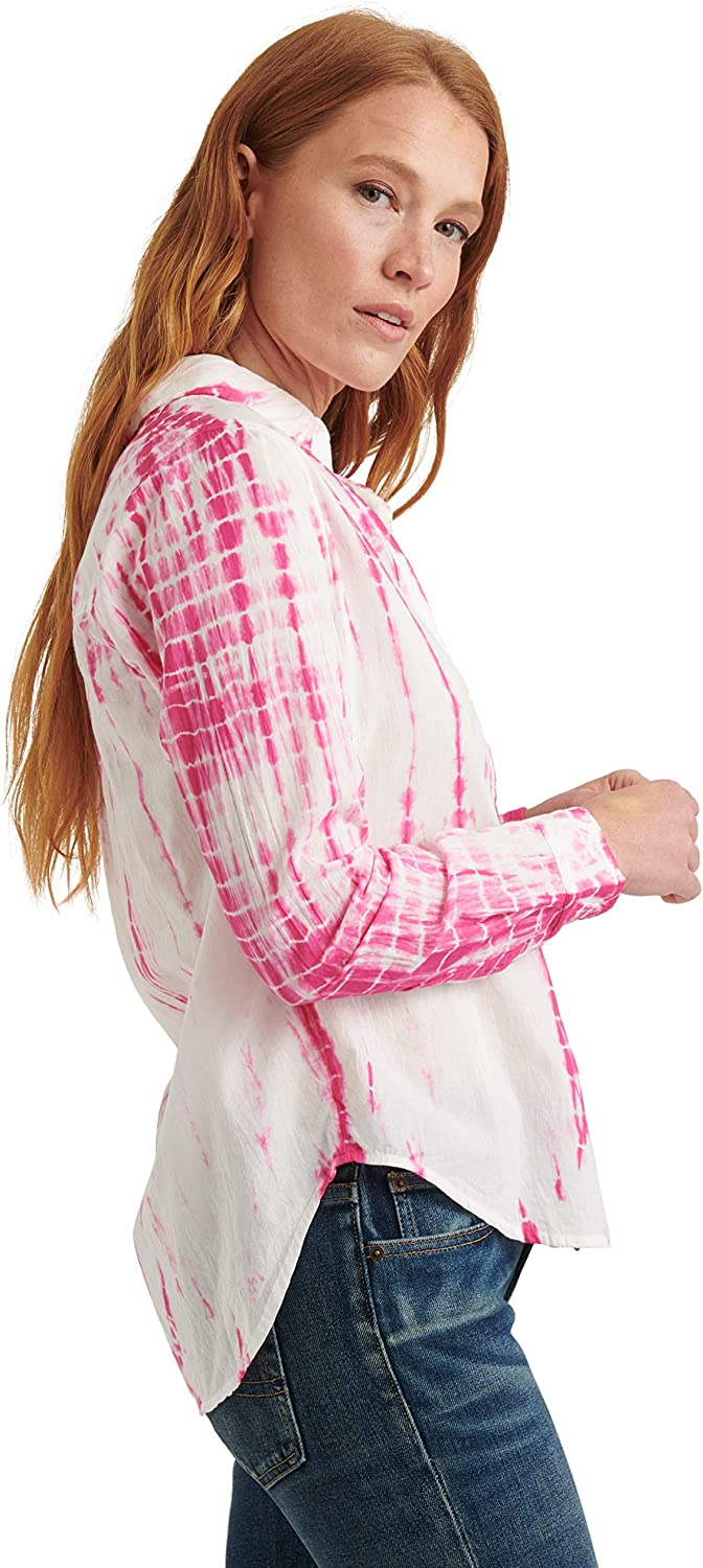 Lucky Brand Women's Long Sleeve Classic One Pocket Button Front Shirt Pink Multi