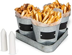 Galvanized Set of 3 French Fry Calamari Chips Holder Bucket Set - Fries Basket Stand Decorative Display Food Serving Set for Outdoor Indoor Restaurant Diner