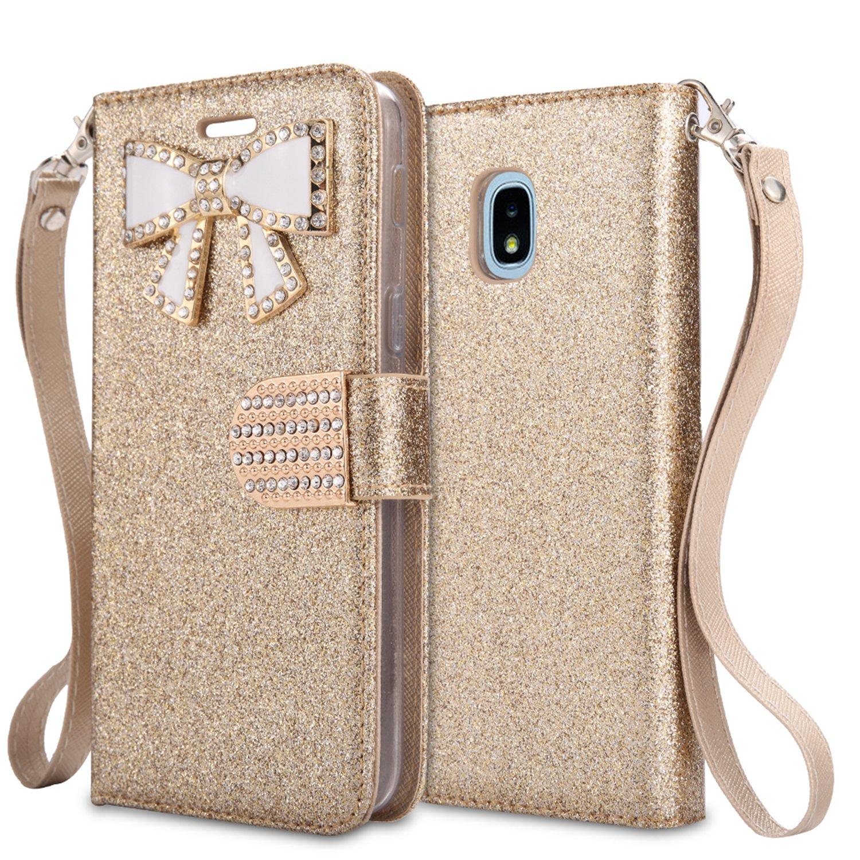 For Samsung Galaxy J3 (2018), J3 Achieve, J3 Star, Express Prime3, Amp Prime3, J3/J3V 3rd Gen SM-J337 Case,PU Leather Rhinestone Wallet Flip Phone Protective Case with Card Slots (WBL Gold)