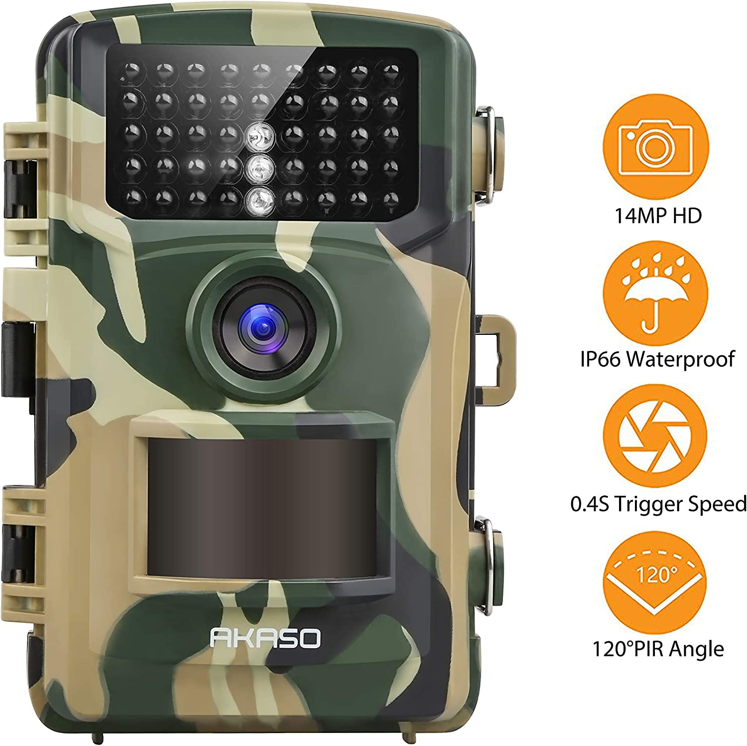 AKASO Trail Game Camera 14MP 1080P Wildlife Hunting Scouting Cam IP66 Waterproof Camera with 120 Detecting Range Motion Activated Night Vision 2.4inch LCD IR LED TC04