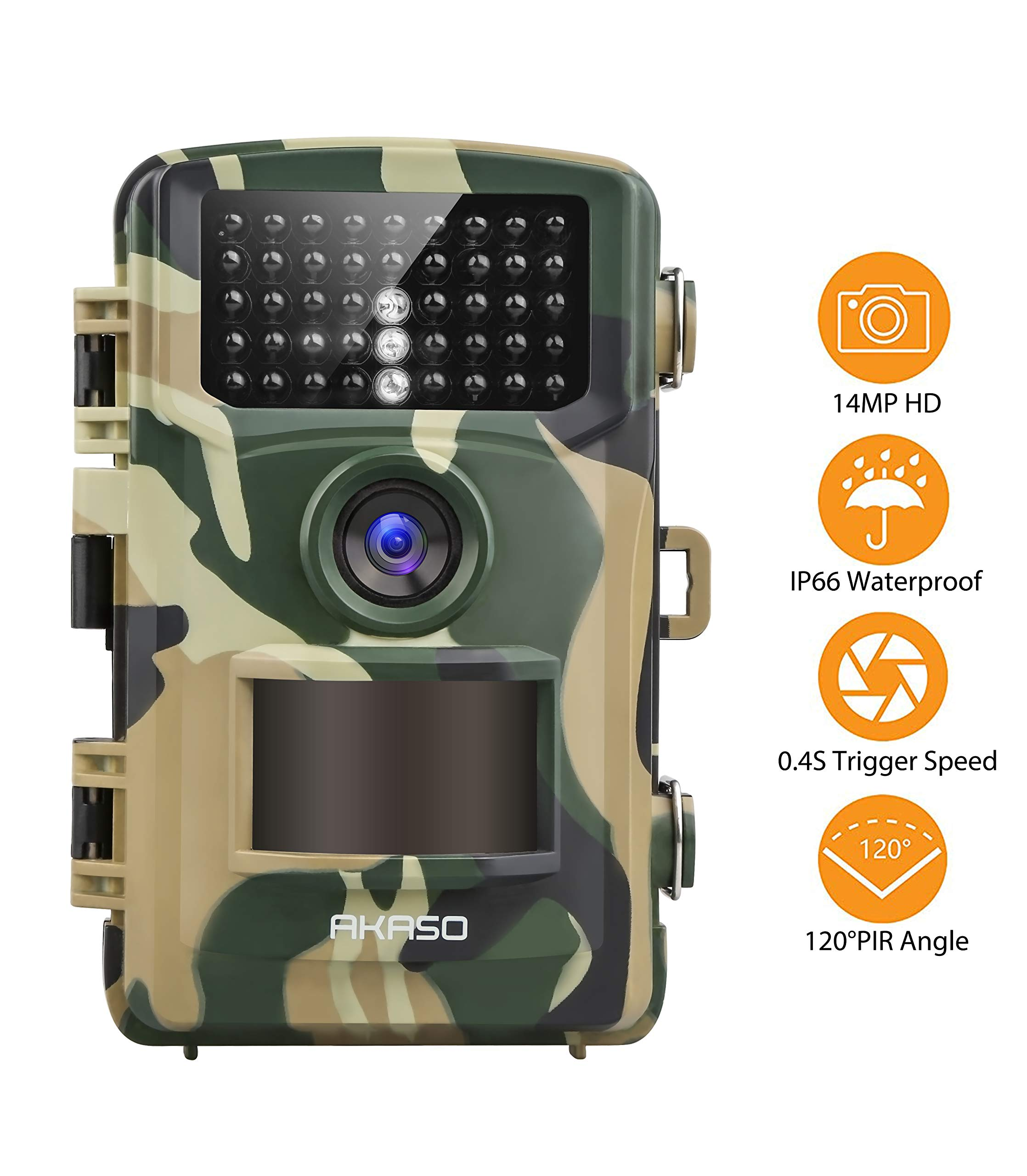 AKASO Trail Game Camera 14MP 1080P Wildlife Hunting Scouting Cam IP66 Waterproof Camera with 120° Detecting Range Motion Activated Night Vision 2.4'' LCD IR LEDs