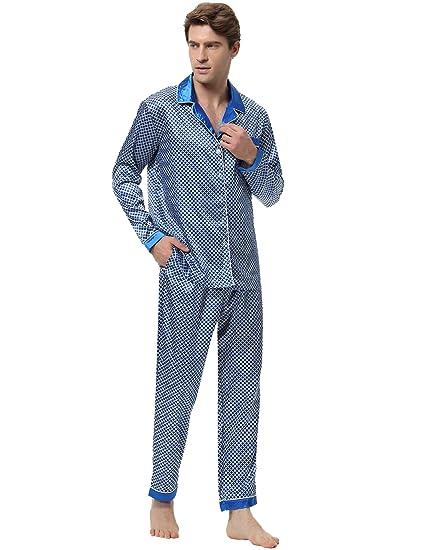 53b4d18018561 2018 Nouveau 2 PCS Pyjamas Ensembles Mâle(2 Styles:Coton/Satin) Vêtements