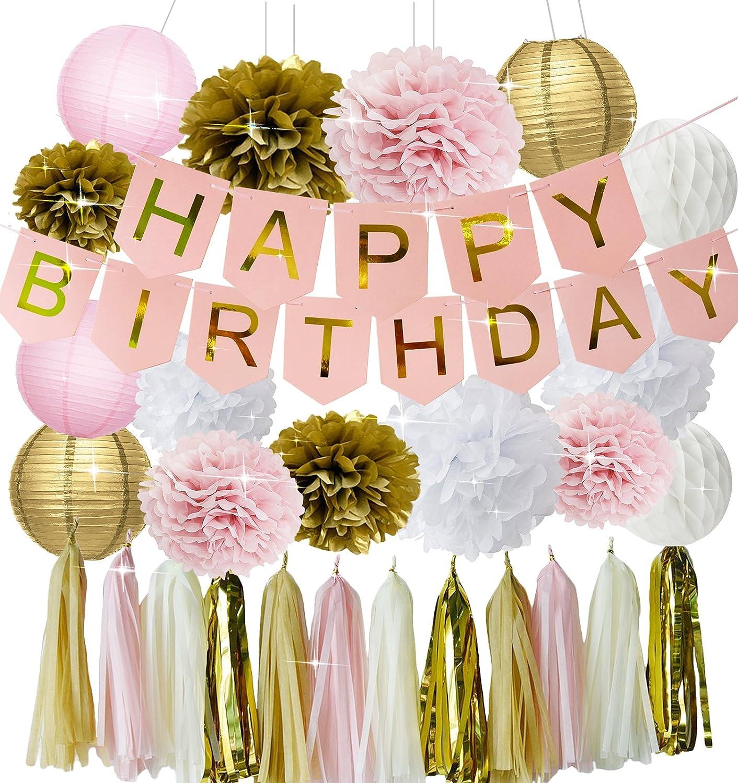 Pink Gold Birthday Party Decorations Happy Birthday Banner Girls