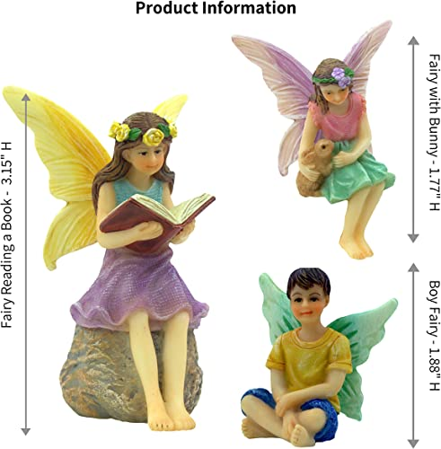PRETMANNS Fairy Garden Fairies 3 Miniature Fairy Figurines A Book Reading Fairy, Fairy Holding a Bunny and a Boy Fairy – Forest Fairies Fairy Garden Supplies 3 Pieces