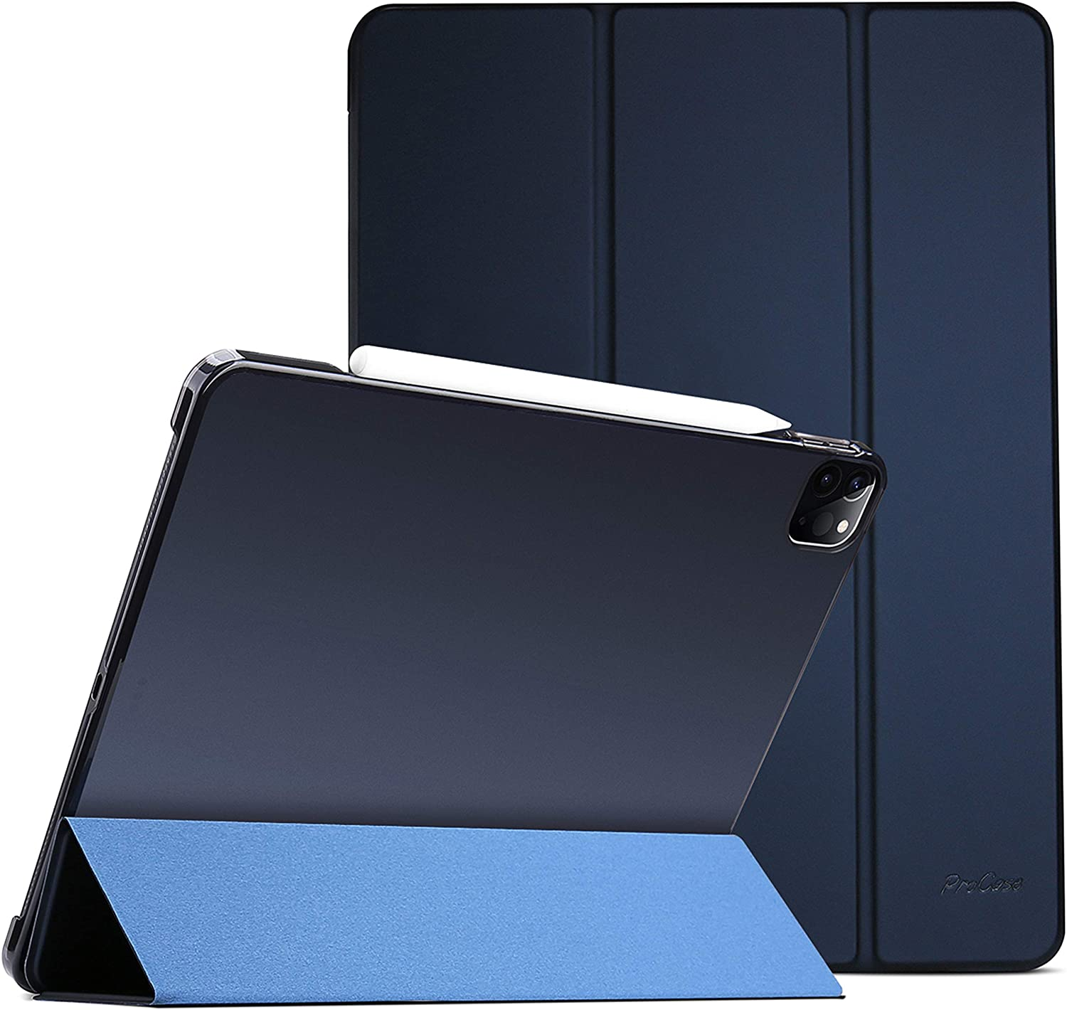 """ProCase iPad Pro 12.9 Case 4th Generation 2020 & 2018, [Support Apple Pencil 2 Charging] Slim Stand Hard Back Shell Smart Cover for iPad Pro 12.9"""" 4th Gen 2020 / iPad Pro 12.9"""" 3rd Gen 2018 –Navy"""