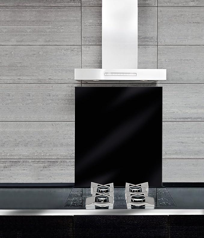 WENKO 53881100 Fond de hotte verre Noir, Verre trempé, 60x70 cm ...