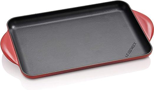 Le Creuset Parrilla Rectangular, Apto para todas las fuentes de calor, incl. inducción, Hierro fundido, Rojo(Cereza), 33 x 22 cm: Amazon.es: Hogar