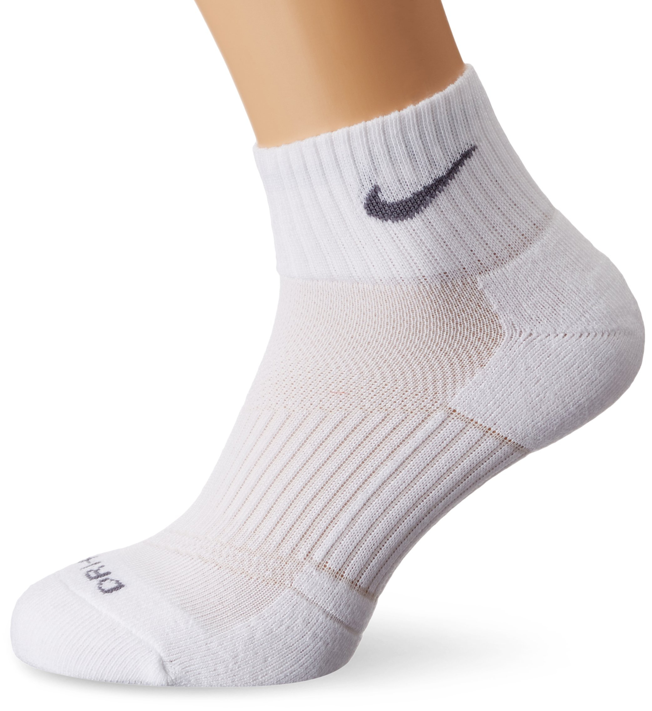 Nike Dri-Fit Half Cushion Quarter Socks (3 Pack) White SX4835-101 Size Medium (6-8)