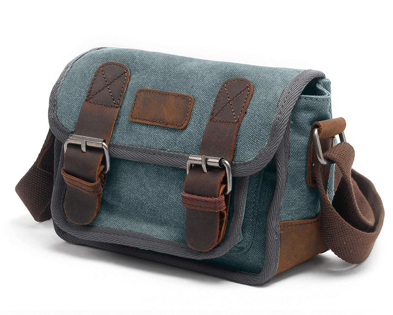 Neccuir Unisex Vintage Messenger Bag Crossbody Leather Canvas Casual School Bag for Satchel Traveling