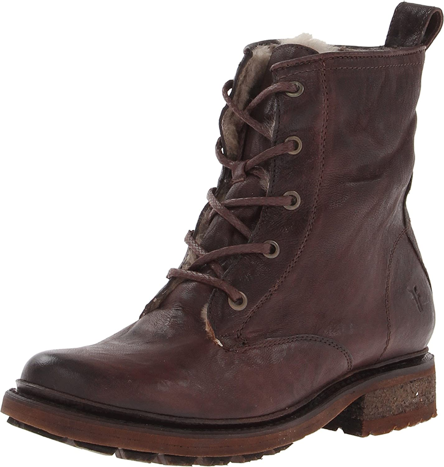 FRYE Women's Valerie Shearling Lace-Up Boot B00BGBS2Q6 11 B(M) US|Dark Brown-75017