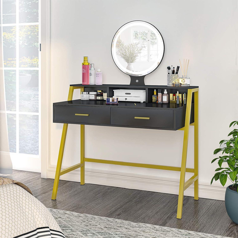 Tiptiper Vanity Table with Lighted Mirror, Makeup Dressing Table Set with 3 Lighting Color Modes, Modern Dresser Desk with 2 Large Drawers & Desktop Shelf, for Bedroom, Metal Frame, Gold & Black