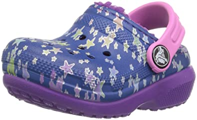 crocs Kinderschuhe Classic Lined Graphic Clog K 204817 Blue Jean/Amethyst 28-29 AQ9G6b