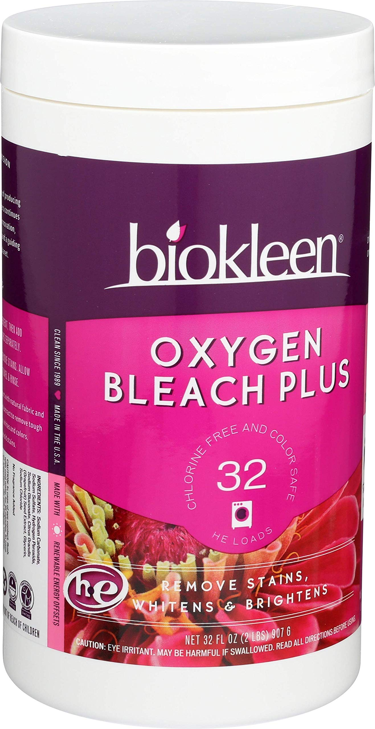 Biokleen Laundry Oxygen Bleach Plus, Concentrated Stain Remover, Whitens & Brightens, Eco-Friendly, Non-Toxic, Plant-Based, No Artificial Fragrance or Preservatives, 2 Pounds, 32 HE Loads (Pack of 12) by Biokleen (Image #2)