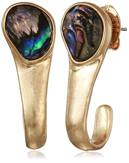 Robert Lee Morris Soho Women's Abalone Stone Curved Stick Earrings, One Size