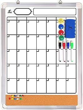 Wall Organization Kit Message Board and Corkboard Weekly Planner World Traveller Design Dry Erase Calendar