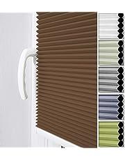 Home-Vision Plisse-Rollo Easyfix Montage ohne Bohren Blickdicht Plissee Jalousie mit Klemmfix | Sonnenschutzrollo Seitenzugrollo Faltrollo Klemmträgern für Fenster/Tür | verspannt Faltstore Rollo